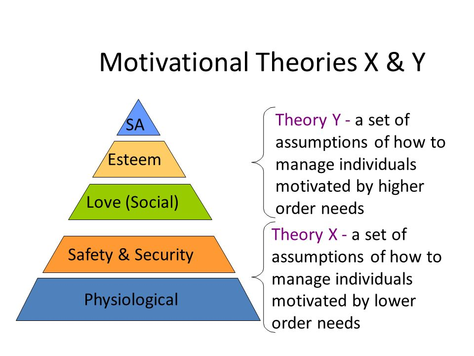 Motivational Theories X & Y Physiological Safety & Security Love (Social) Esteem SA Theory Y - a set of assumptions of how to manage individuals motivated by higher order needs Theory X - a set of assumptions of how to manage individuals motivated by lower order needs