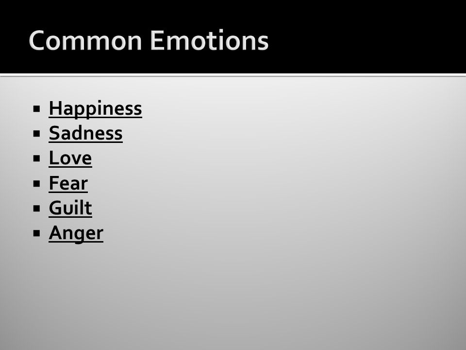  Happiness  Sadness  Love  Fear  Guilt  Anger