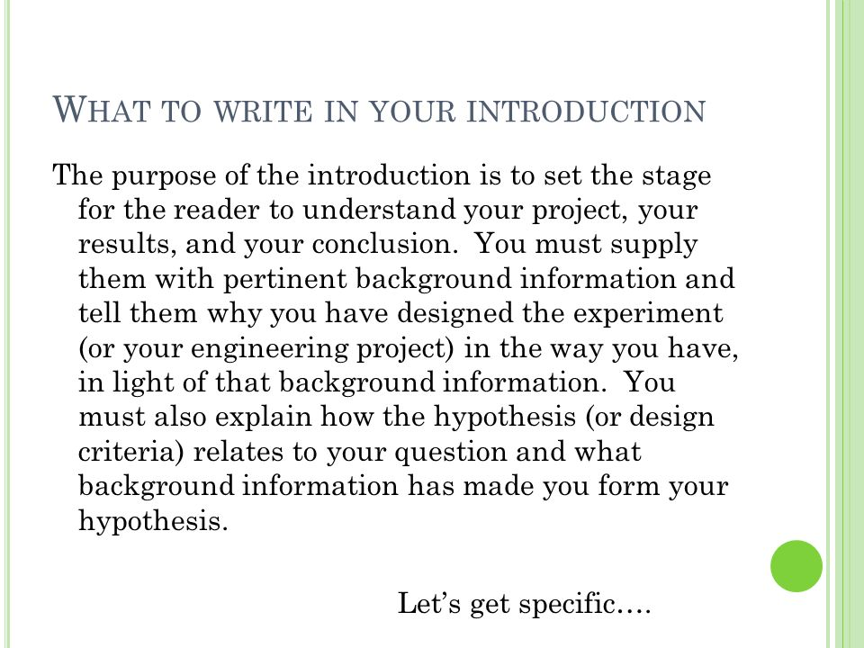 How to write an introduction for a research project