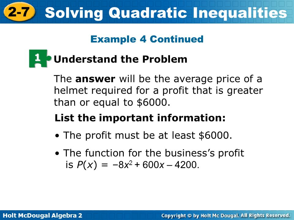Holt McDougal Algebra Solving Quadratic Inequalities 27 Solving – Holt Mcdougal Algebra 2 Worksheet Answers