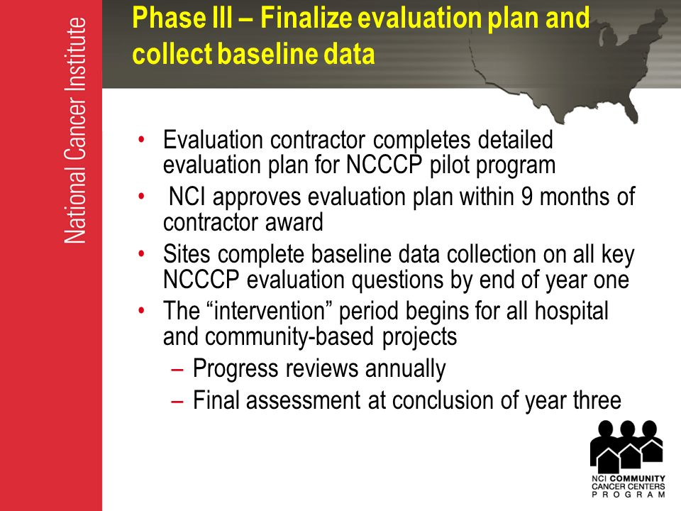 Evaluation Plan Steven Clauser Phd Chief Outcomes Research