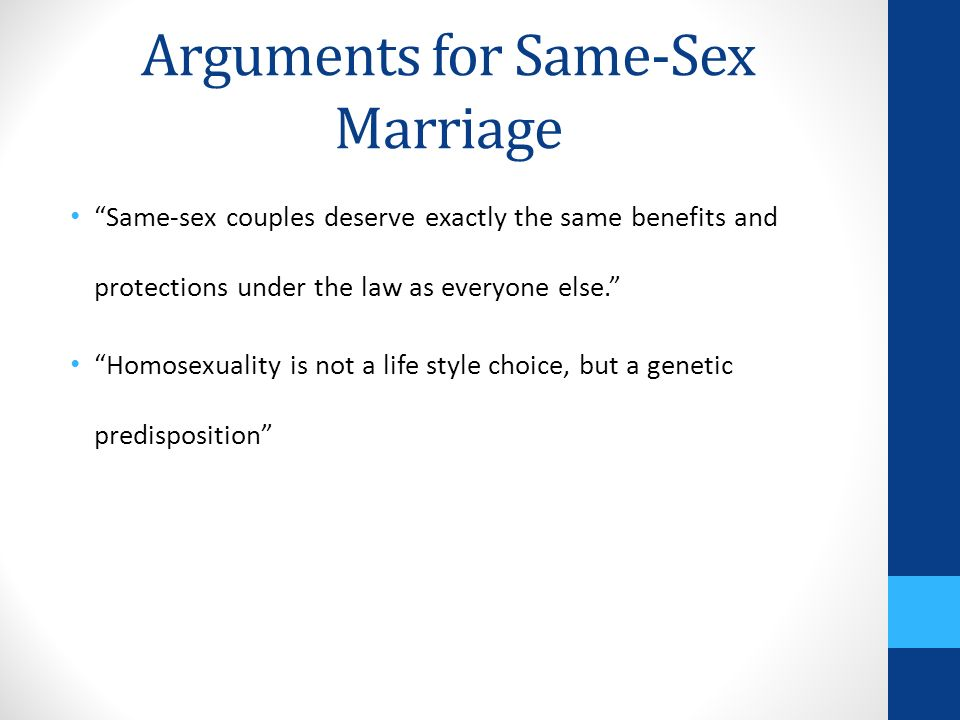 "an argument in favor of the legalization of same sex marriage Unintended consequences: the flaws in ""it doesn't affect anyone but us"" argument in favor of legalizing same-sex marriage marianne m jennings, jd."