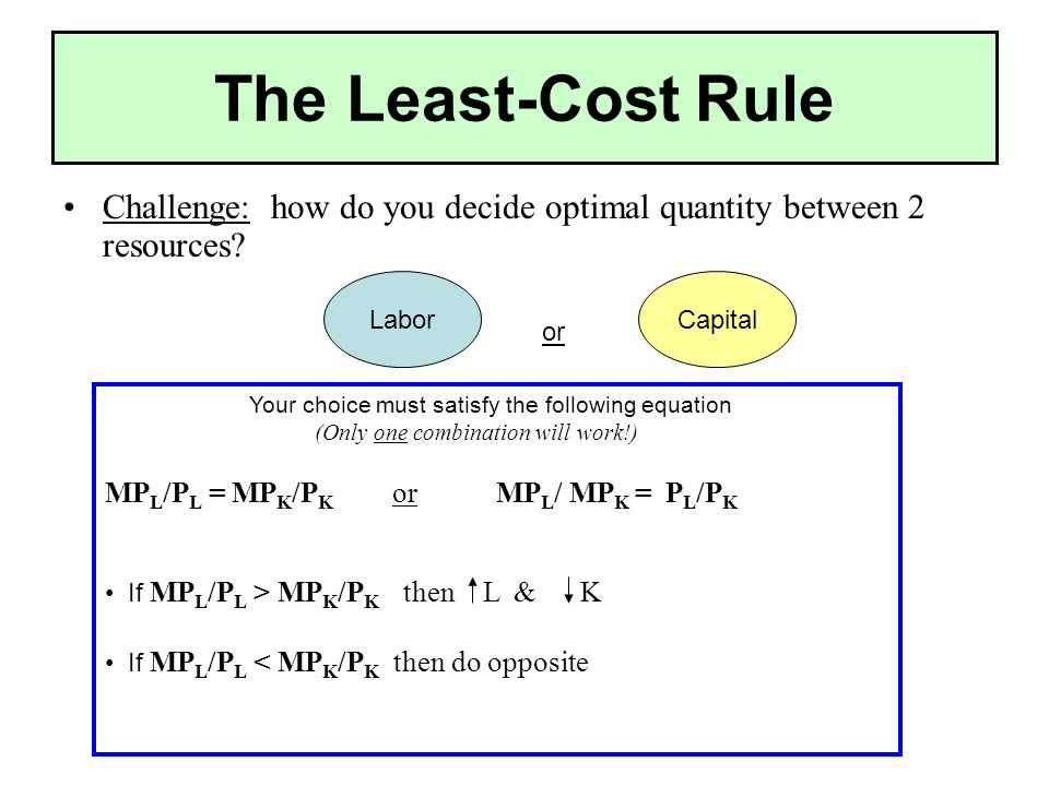 The Least-Cost Rule Challenge: how do you decide optimal quantity between 2 resources.