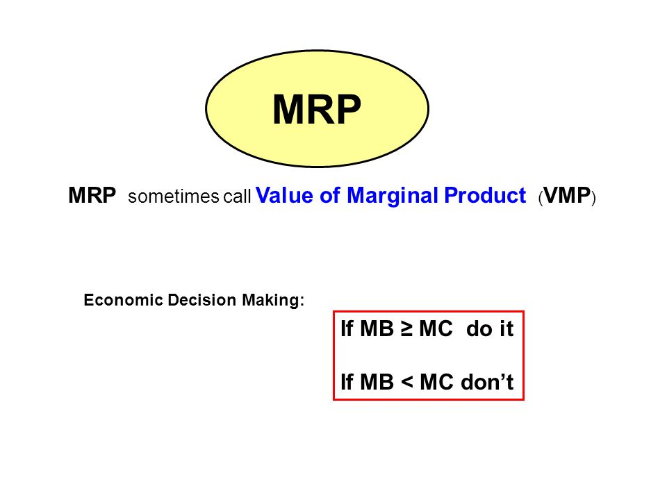 MRP sometimes call Value of Marginal Product ( VMP ) MRP If MB ≥ MC do it If MB < MC don't Economic Decision Making: