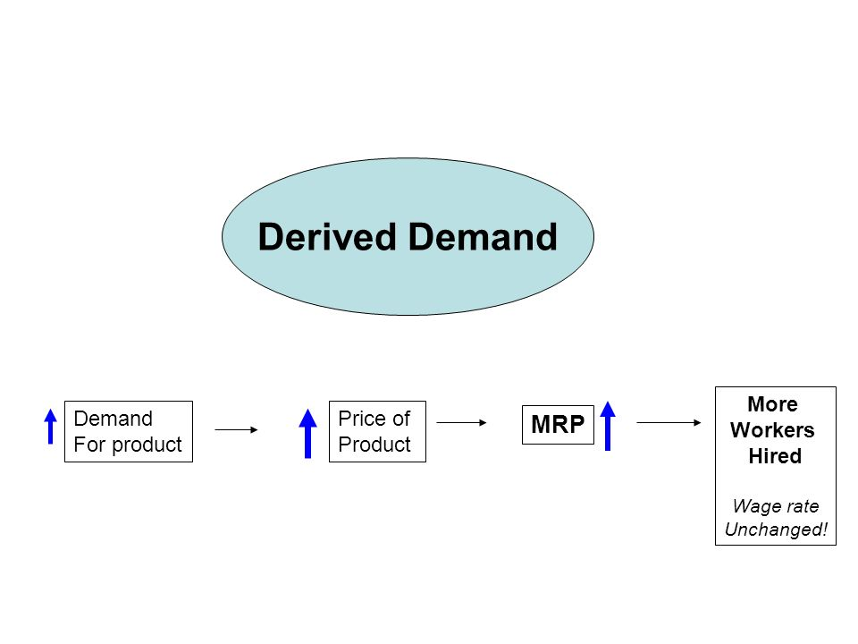 Derived Demand Demand For product Price of Product MRP More Workers Hired Wage rate Unchanged!