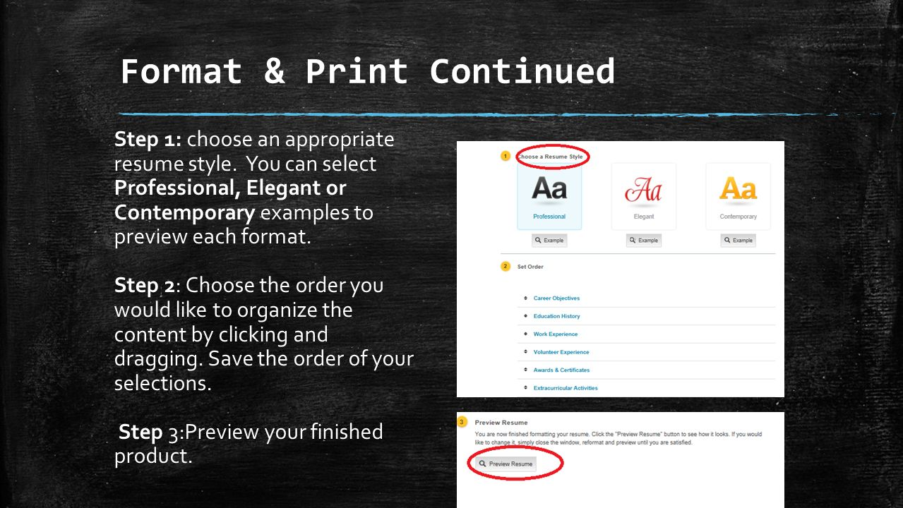 format print continued step 1 choose an appropriate resume style