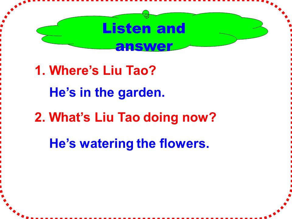 Listen and answer 1. Where's Liu Tao. 2. What's Liu Tao doing now.