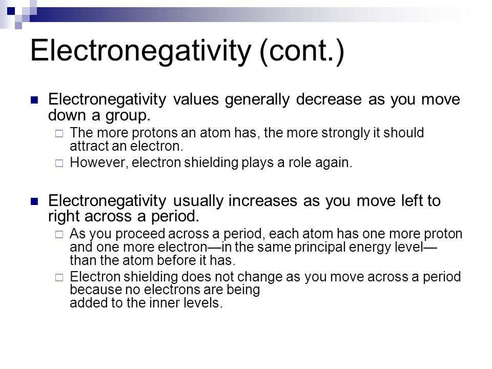 Trends in the periodic table periodic trends the arrangement of electronegativity values generally decrease as you move down a group urtaz Gallery