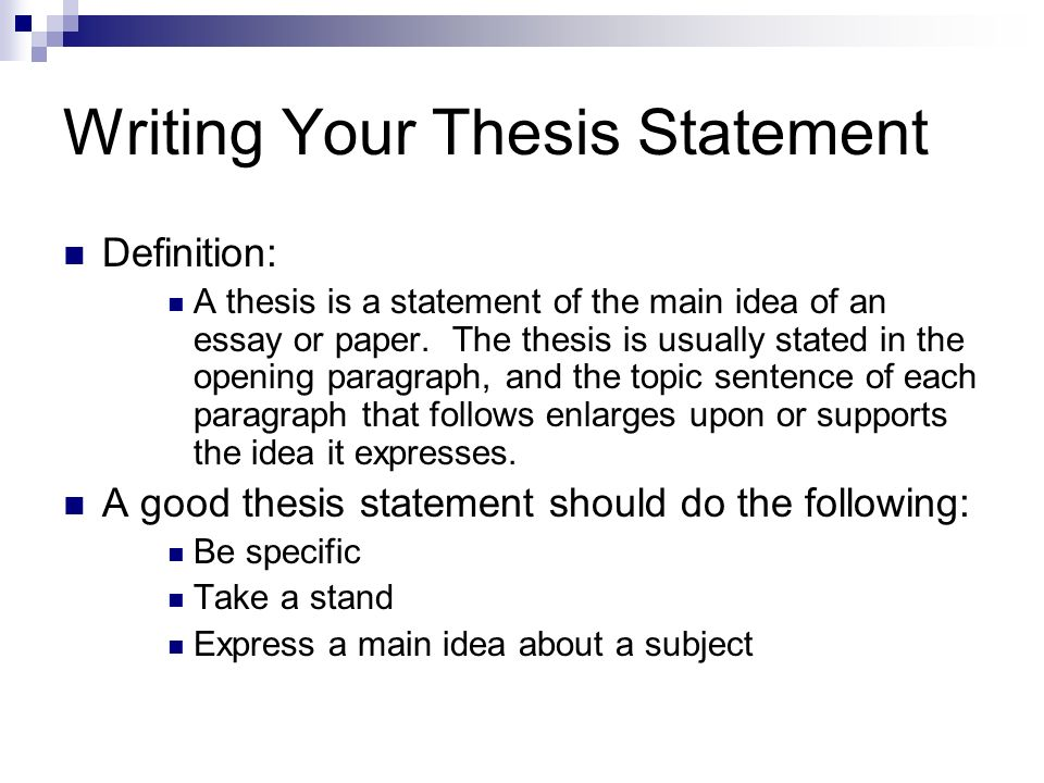 Paper Writing Proper Format Before You Write What Type Of Essay  Writing Your Thesis Statement Definition A Thesis Is A Statement Of The  Main Idea Of