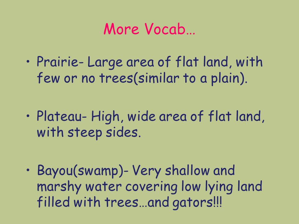 More Vocab… Prairie- Large area of flat land, with few or no trees(similar to a plain).