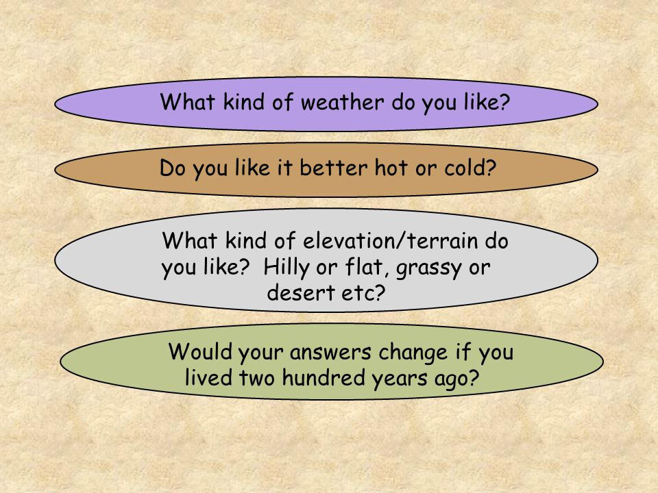 What kind of weather do you like. Do you like it better hot or cold.