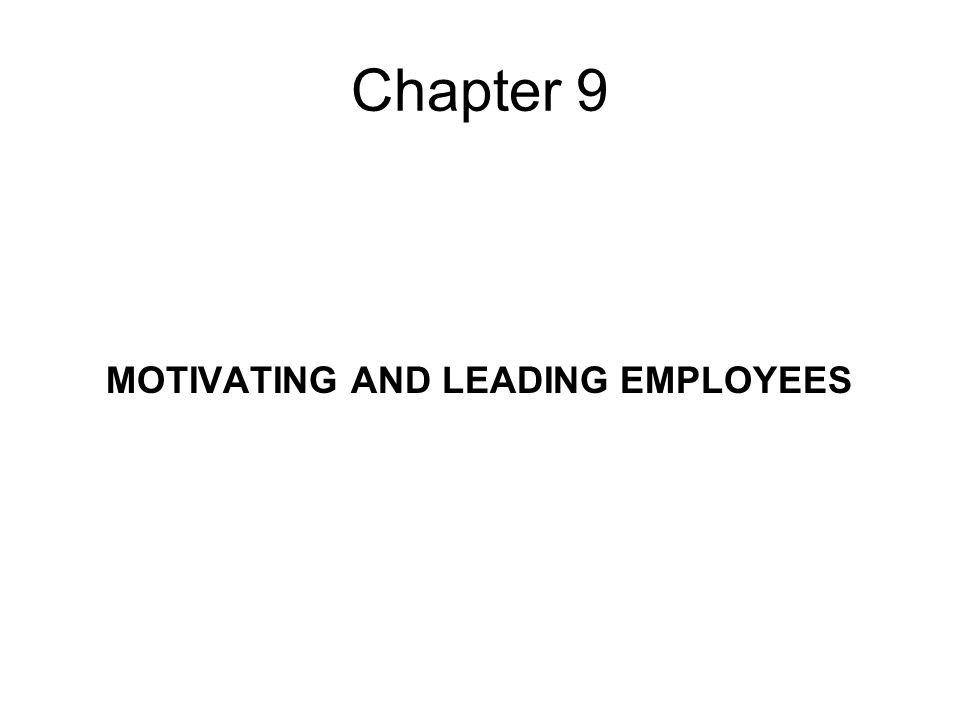 Chapter 9 MOTIVATING AND LEADING EMPLOYEES