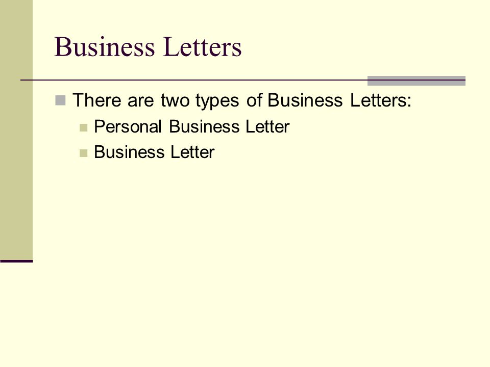 Personal And Business Letters Objectives - Students Will: Learn