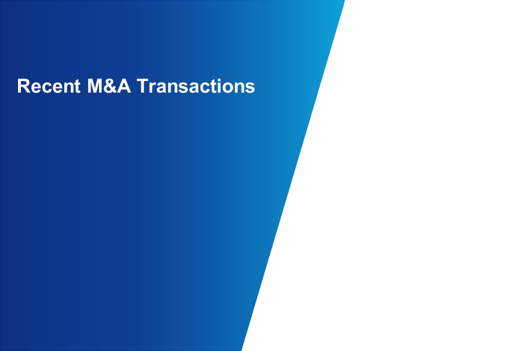 Recent M&A Transactions