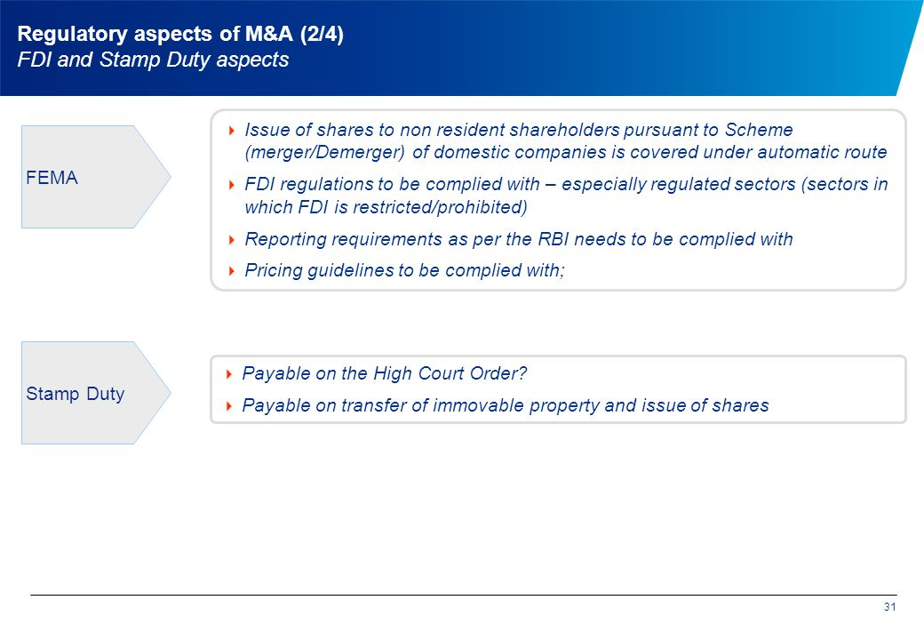 Regulatory aspects of M&A (2/4) FDI and Stamp Duty aspects  Issue of shares to non resident shareholders pursuant to Scheme (merger/Demerger) of domestic companies is covered under automatic route  FDI regulations to be complied with – especially regulated sectors (sectors in which FDI is restricted/prohibited)  Reporting requirements as per the RBI needs to be complied with  Pricing guidelines to be complied with; 31 FEMA  Payable on the High Court Order.