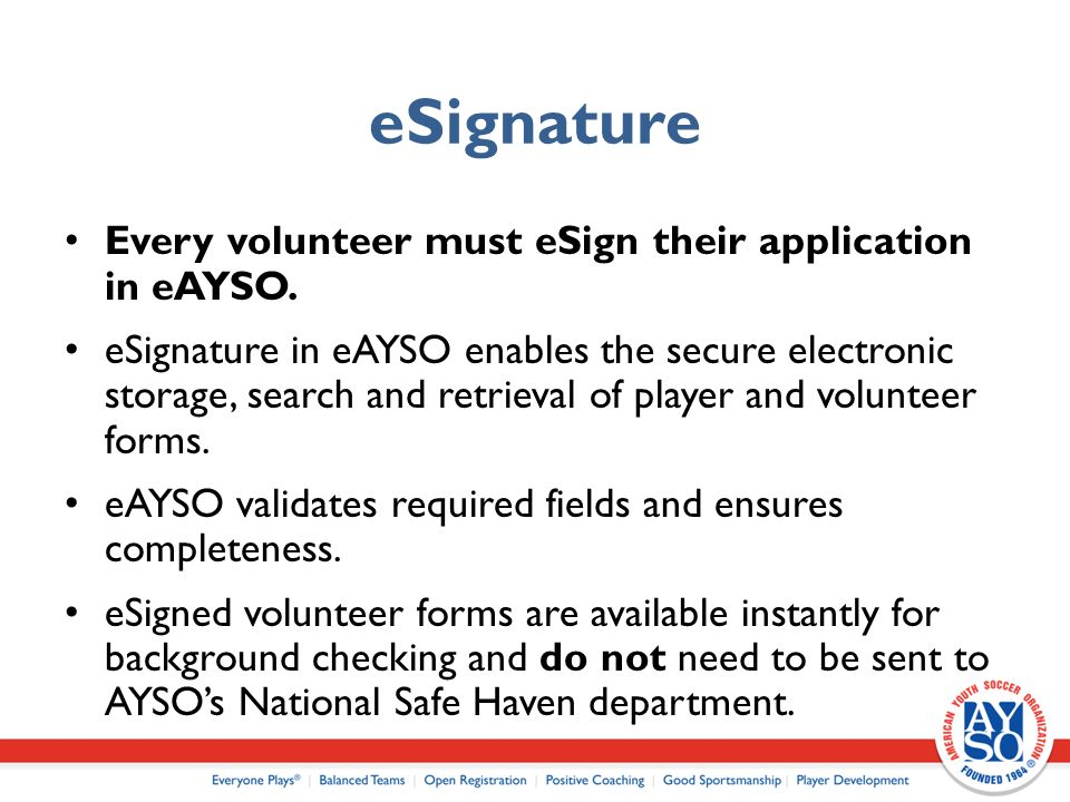 Referee Admin AYSO eAYSO for CVPA National eAYSO Commission      Section Meetings