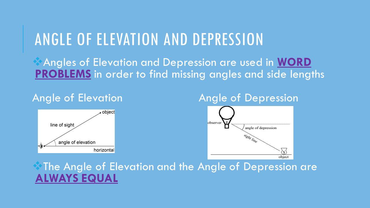 Angle of elevation and depression worksheet 2