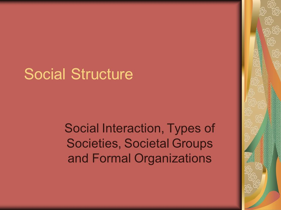 Social Structure Social Interaction, Types of Societies, Societal Groups and Formal Organizations