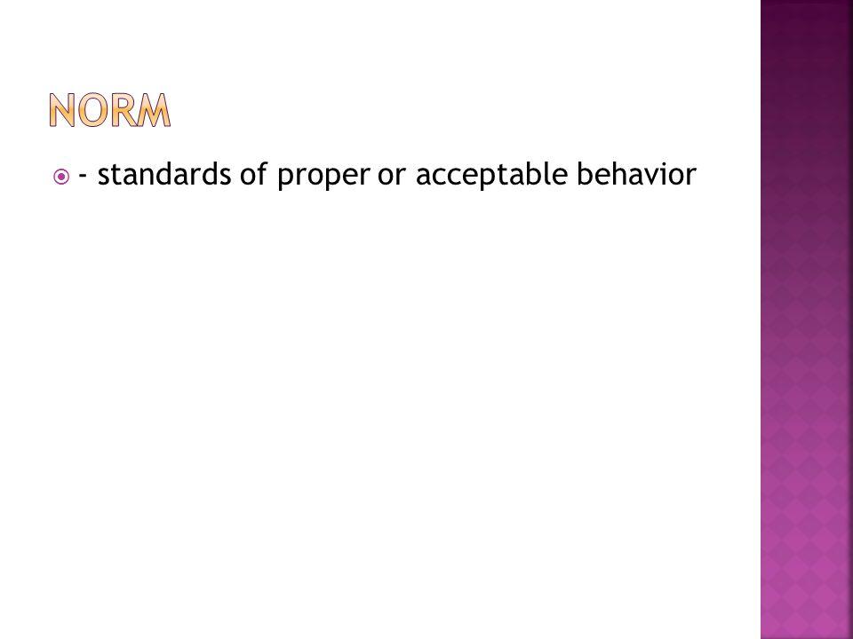  - standards of proper or acceptable behavior