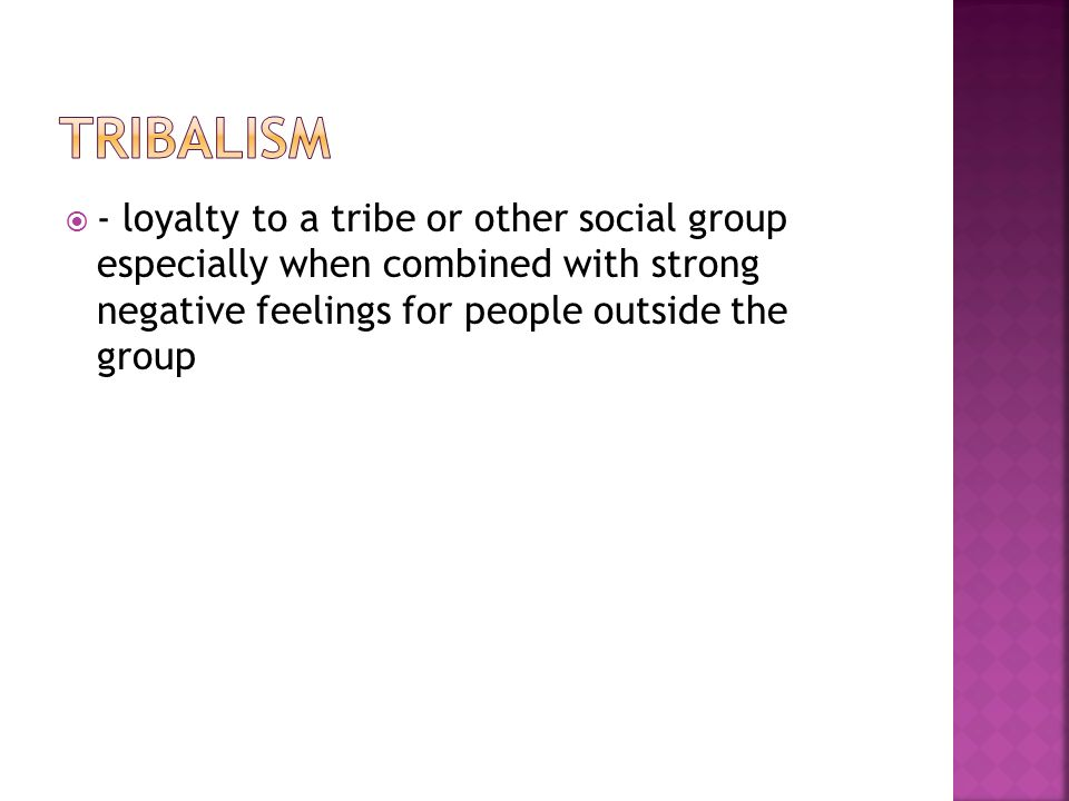  - loyalty to a tribe or other social group especially when combined with strong negative feelings for people outside the group