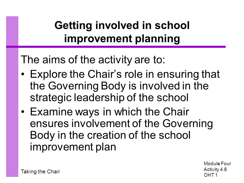 Taking the Chair Getting involved in school improvement planning The aims of the activity are to: Explore the Chair's role in ensuring that the Governing Body is involved in the strategic leadership of the school Examine ways in which the Chair ensures involvement of the Governing Body in the creation of the school improvement plan Module Four Activity 4.6 OHT 1