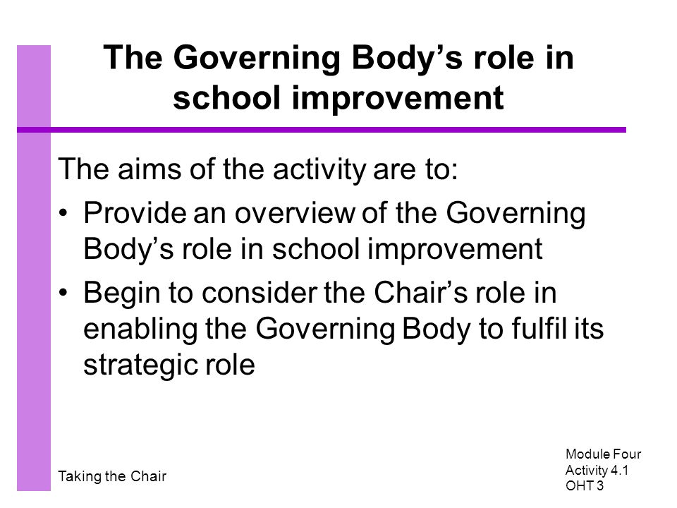 Taking the Chair The Governing Body's role in school improvement The aims of the activity are to: Provide an overview of the Governing Body's role in
