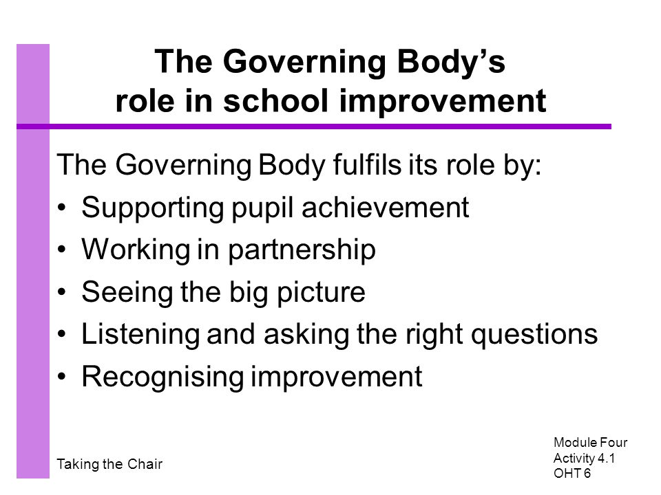 Taking the Chair The Governing Body's role in school improvement The Governing Body fulfils its role by: Supporting pupil achievement Working in partnership Seeing the big picture Listening and asking the right questions Recognising improvement Module Four Activity 4.1 OHT 6