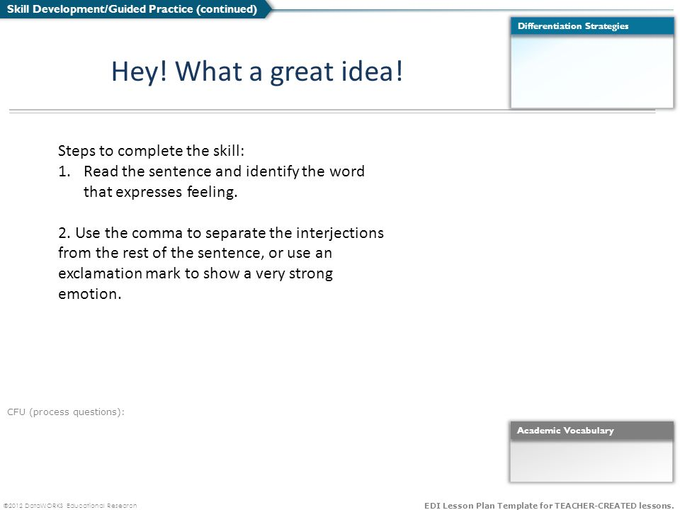DataWORKS Educational Research EDI Lesson Plan Template For - Edi lesson plan template