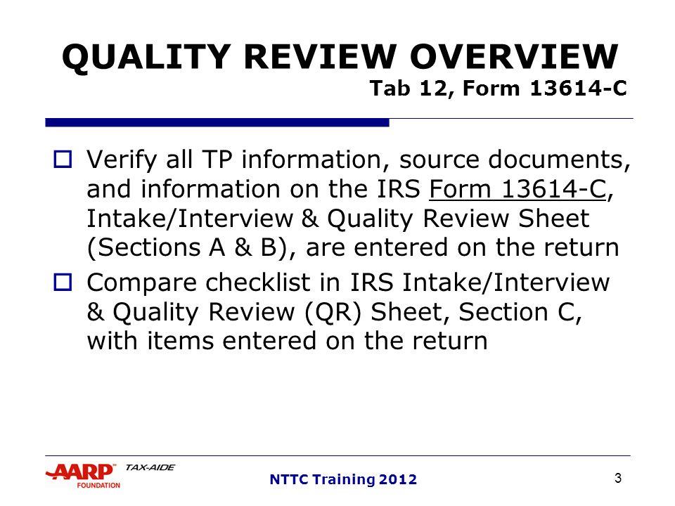 1 Nttc Training 2012 Quality Review Pub 4491lesson 31 Pub 4012tab 12