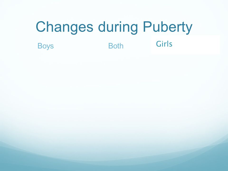 Changes during Puberty BothBoys Girls
