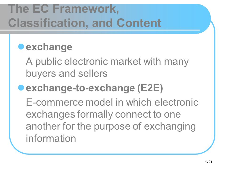1-21 The EC Framework, Classification, and Content exchange A public electronic market with many buyers and sellers exchange-to-exchange (E2E) E-commerce model in which electronic exchanges formally connect to one another for the purpose of exchanging information