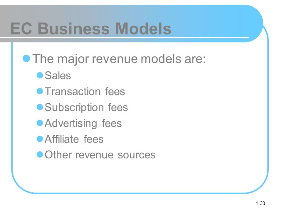 1-33 EC Business Models The major revenue models are: Sales Transaction fees Subscription fees Advertising fees Affiliate fees Other revenue sources