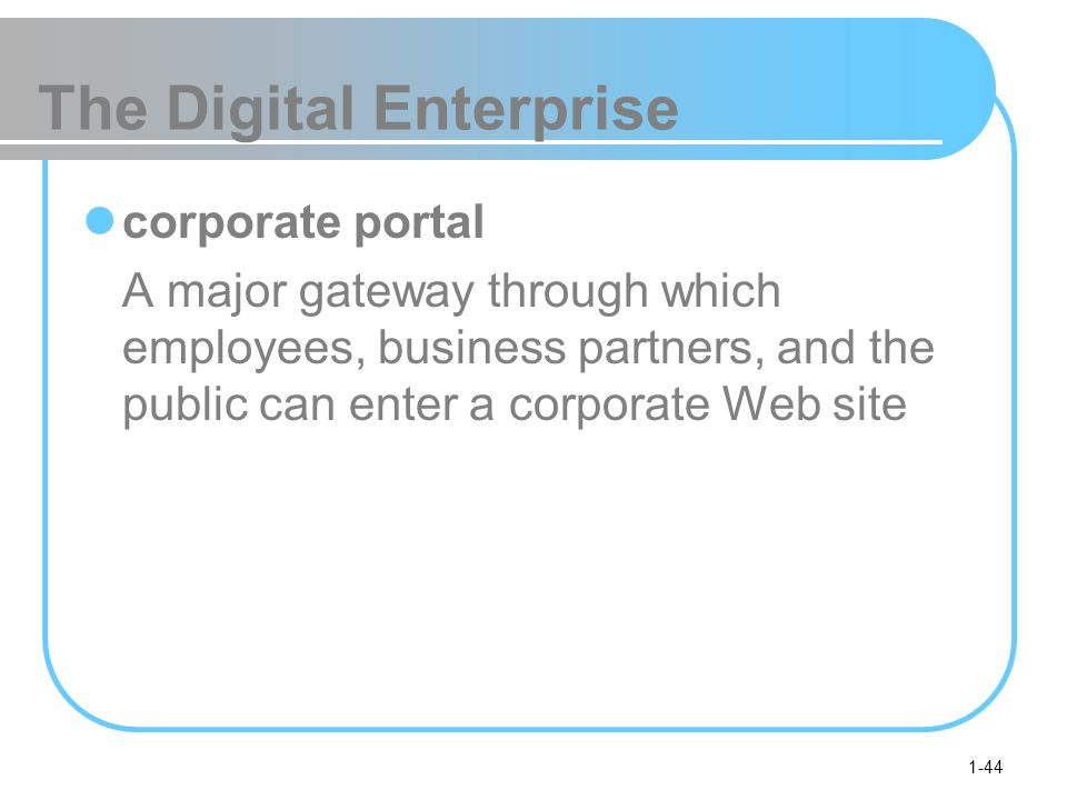 1-44 The Digital Enterprise corporate portal A major gateway through which employees, business partners, and the public can enter a corporate Web site