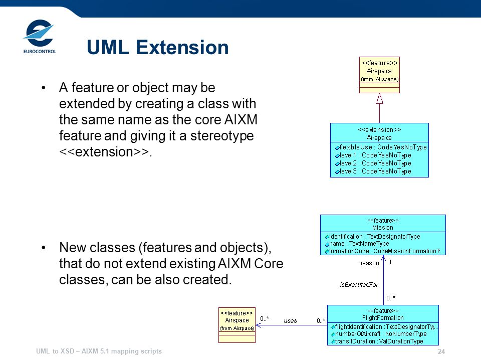UML to XSD – AIXM 5.1 mapping scripts 24 UML Extension A feature or object may be extended by creating a class with the same name as the core AIXM feature and giving it a stereotype >.