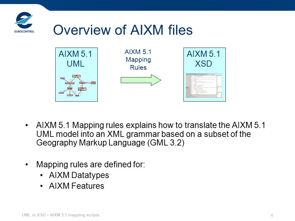 UML to XSD – AIXM 5.1 mapping scripts 4 Overview of AIXM files AIXM 5.1 Mapping rules explains how to translate the AIXM 5.1 UML model into an XML grammar based on a subset of the Geography Markup Language (GML 3.2) Mapping rules are defined for: AIXM Datatypes AIXM Features AIXM 5.1 UML AIXM 5.1 XSD AIXM 5.1 Mapping Rules