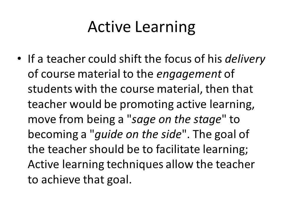active learning in teaching learning activity