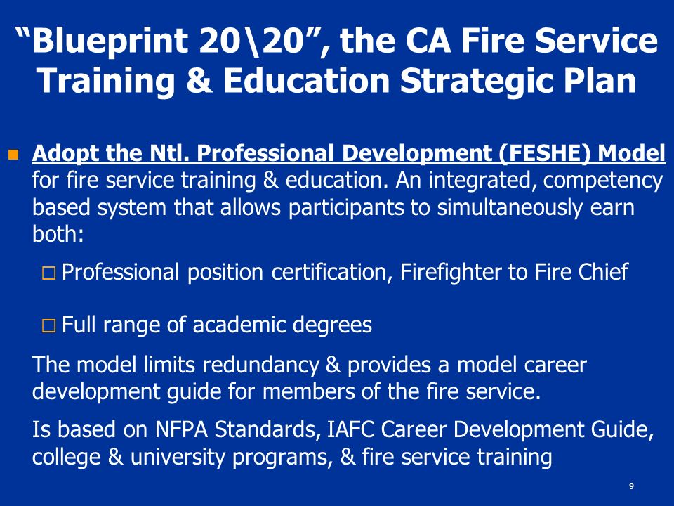 1 blueprint 2020 the future of fire service training education 9 blueprint 2020 the ca fire service training education strategic plan adopt malvernweather Choice Image