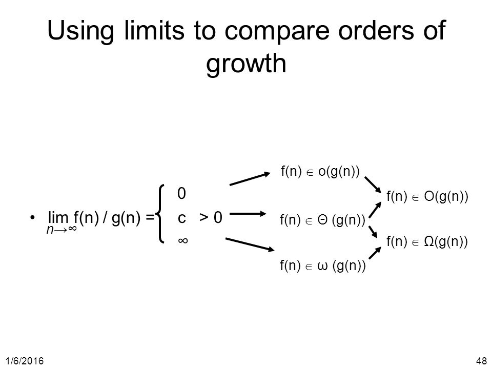 1/6/ Using limits to compare orders of growth 0 lim f(n) / g(n) = c > 0 ∞ n→∞ f(n)  o(g(n)) f(n)  Θ (g(n)) f(n)  ω (g(n)) f(n)  O(g(n)) f(n)  Ω(g(n))