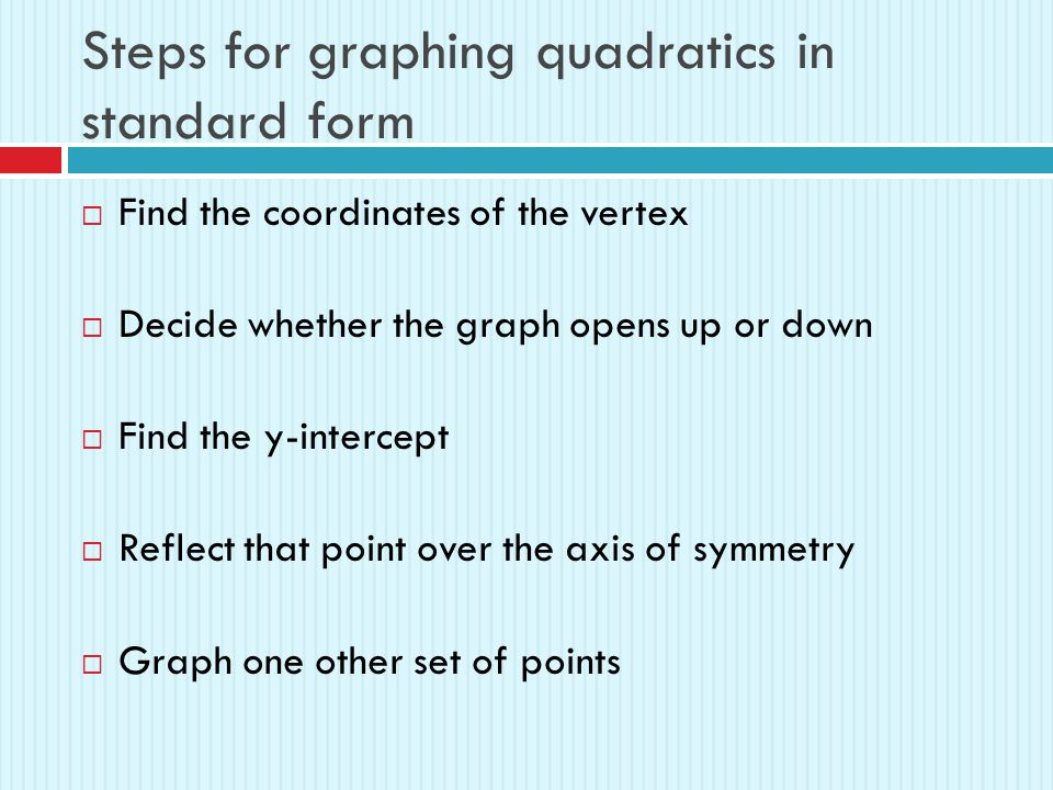 Quadratic Functions In Standard Form 41b Review A Quadratic