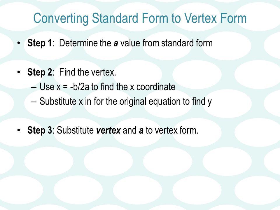 Quadratics Day 2 Vertex Form Unit 6 Quadratic Functions Math Ii