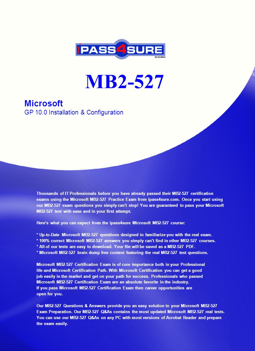 Mb2 527 microsoft gp 100 installation configuration thousands mb2 527 microsoft gp 100 installation configuration thousands of it professionals before you have 1betcityfo Images