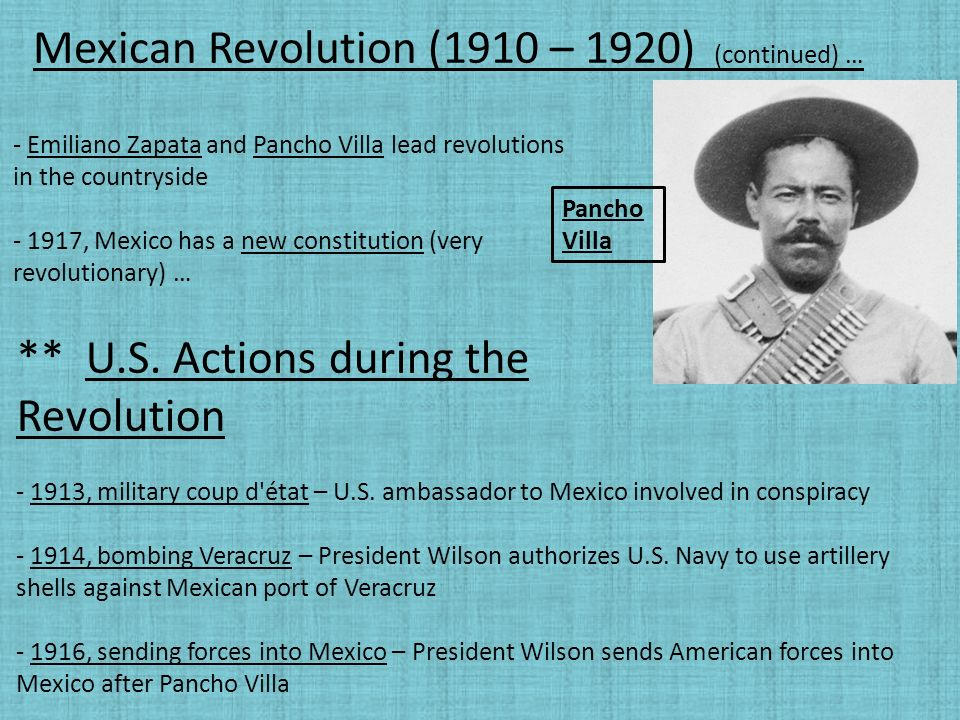 compare and contrast cuban revolution and mexican revolution Full scale revolution in 1955 by 1959, batista was exiled out of cuba and castro is sworn in as prime minister 1965 castro became the first secretary of the communist party castro is known for his anti us policy.