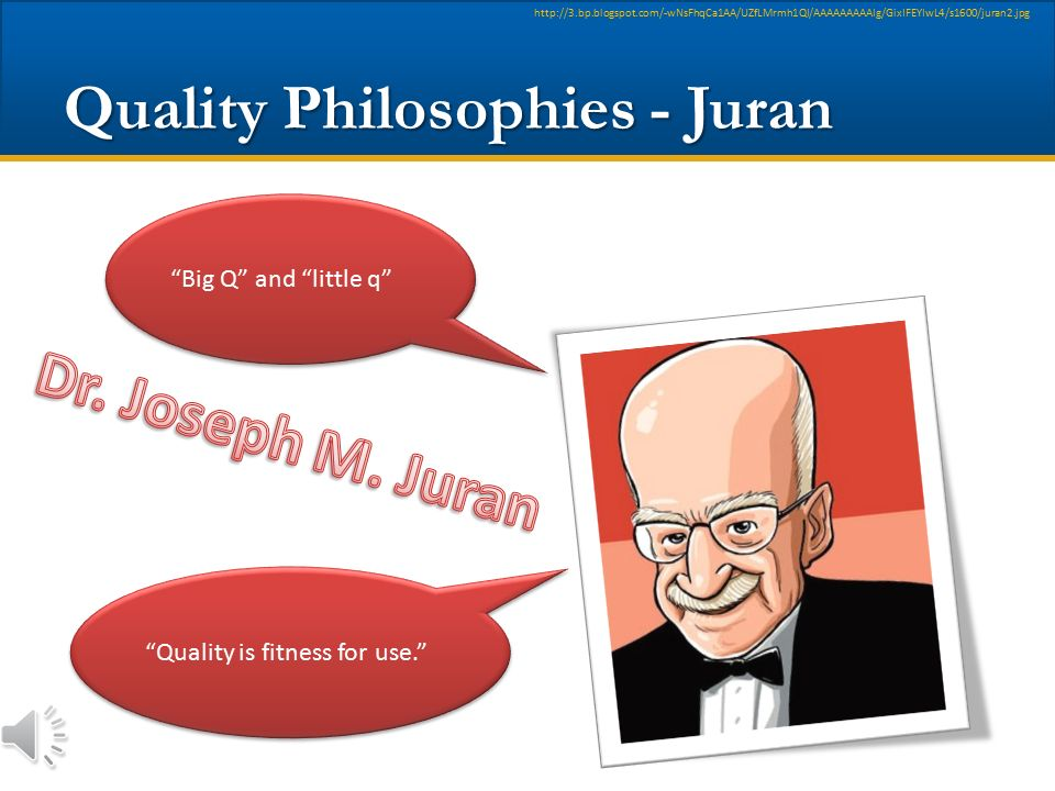 "Quality Philosophies - Juran http://3.bp.blogspot.com/-wNsFhqCa1AA/UZfLMrmh1QI/AAAAAAAAAIg/GixIFEYIwL4/s1600/juran2.jpg ""Quality does not happen by ac"