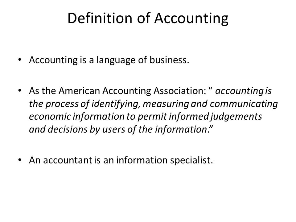 Introduction to Accounting Trang. Definition of Accounting ...