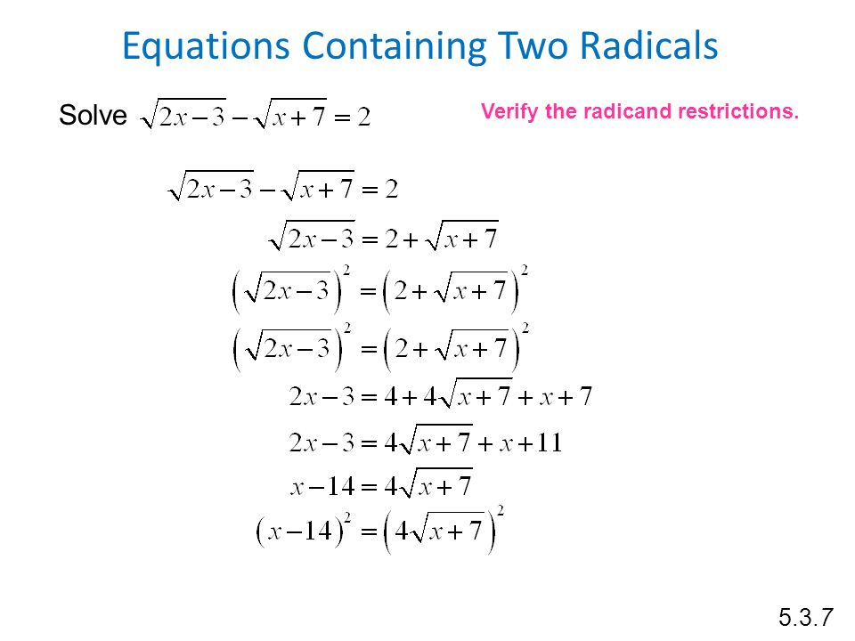 Radical Equations With Two Radicals Jennarocca – Solving Radical Equations Worksheet