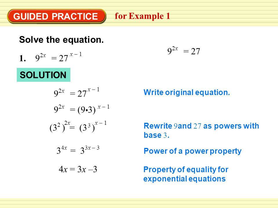 EXAMPLE 1 Solve by equating exponents Rewrite 4 and as powers with ...