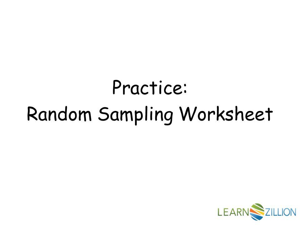 Random Sampling How many texts do middle school students send in – Random Sampling Worksheet