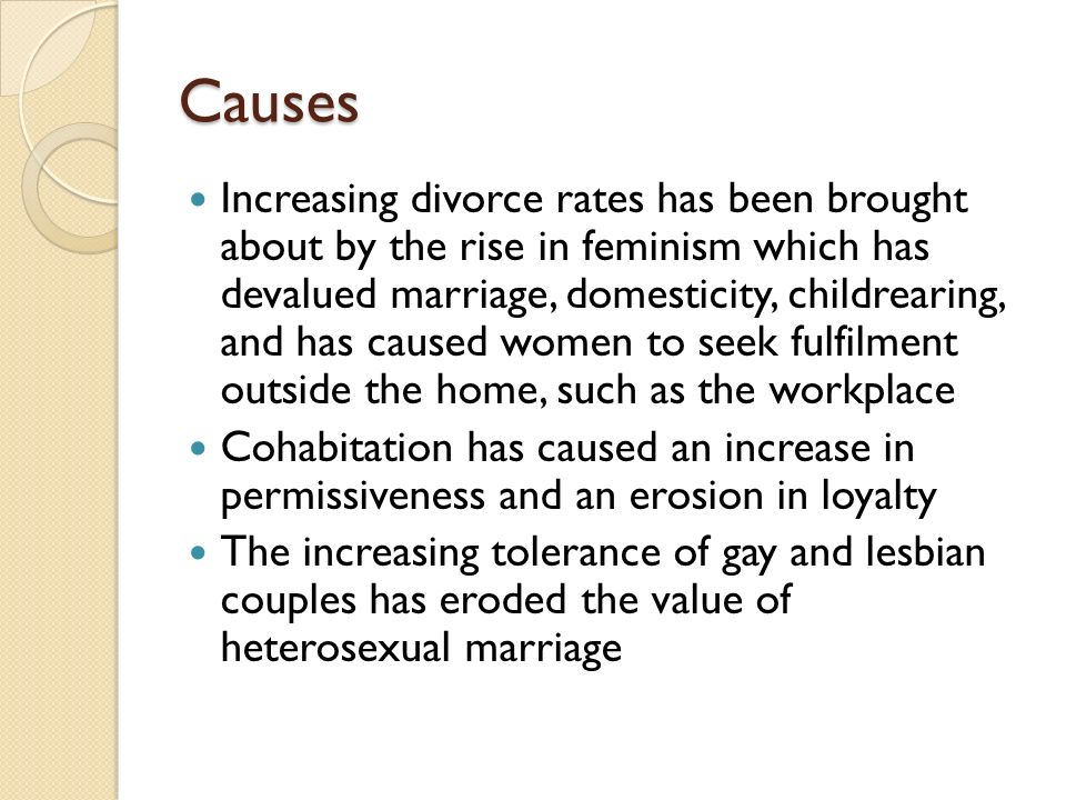 increasing divorce and cohabitation causes
