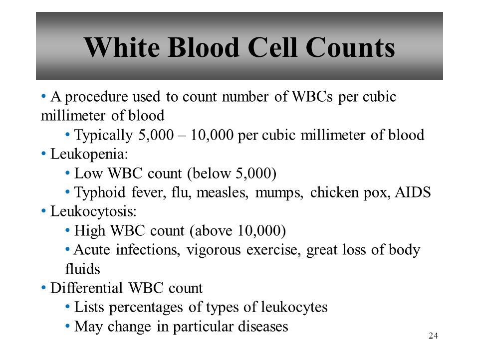 24 White Blood Cell Counts A procedure used to count number of WBCs per cubic millimeter of blood Typically 5,000 – 10,000 per cubic millimeter of blood Leukopenia: Low WBC count (below 5,000) Typhoid fever, flu, measles, mumps, chicken pox, AIDS Leukocytosis: High WBC count (above 10,000) Acute infections, vigorous exercise, great loss of body fluids Differential WBC count Lists percentages of types of leukocytes May change in particular diseases