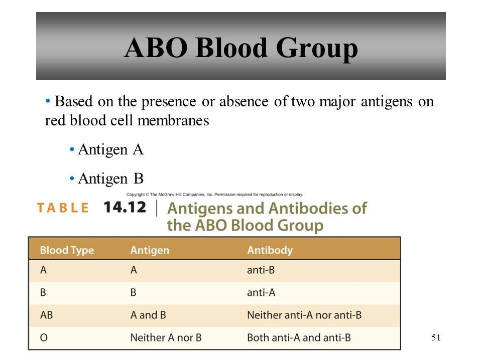 51 ABO Blood Group Based on the presence or absence of two major antigens on red blood cell membranes Antigen A Antigen B